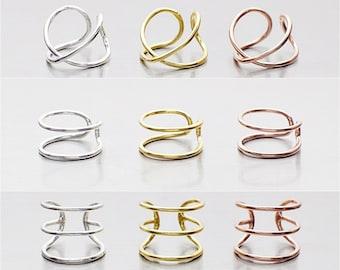 Cuff Earrings, Twist Ear Cuff, Double line Ear Cuff, Triple line Ear Cuff, Silver Gold Ear Wrap, Twist Wire Cuff Earrings
