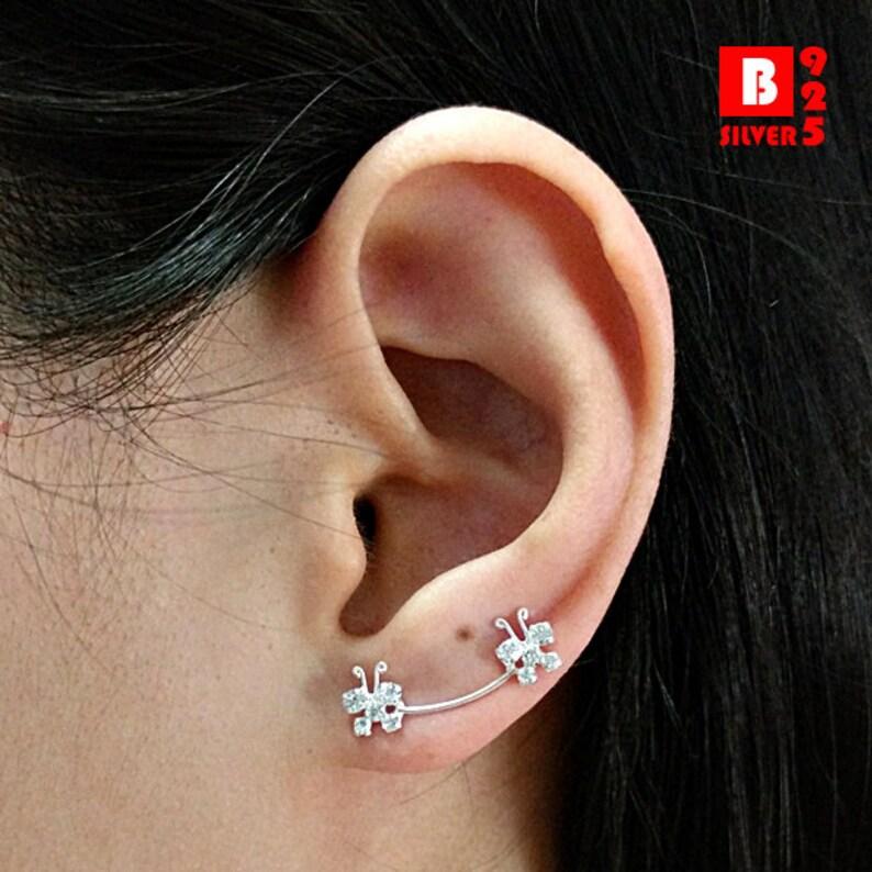 Crystal Earrings Pins Code : ED110A Butterfly Earrings 925 Sterling Silver Ear Climbers Ear Cuff Earrings