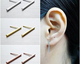 925 Sterling Silver Earrings, Bar Earrings, Gold Plated Earrings, Rose Gold Plated Earrings, Stud Earrings (Code : EG79)