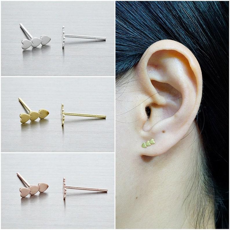 ef7e450f5 925 Sterling Silver Earrings Triple Heart Earrings Gold | Etsy