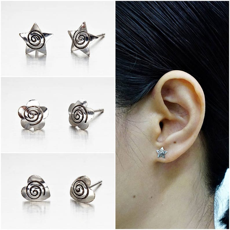 Real 925 sterling Silver Oxidized OM Earring Stud Oxidized Om Ear Stud 1Pairs