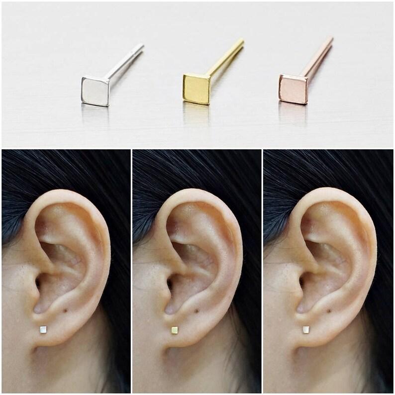 925 Sterling Silver Earrings Square Earrings Stud Earrings Size 2.5 mm Gold Plated Earrings Rose Gold Plated Earrings Code : E06