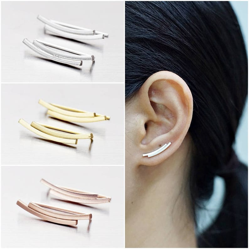 Code : ED129 Gold Plated Double Bar Earrings Rose Gold Plated Earrings Earrings Pins Bar Earrings 925 Sterling Silver Ear Climbers