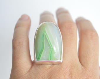 Green stone ring , sterling silver , botswana  agate ,  statement , one available , adjustable , hand made, paolanaviajewelry