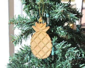 pineapple christmas ornament can be personalized with name year engraved golden wood tropical decor hawaii island aloha vacation