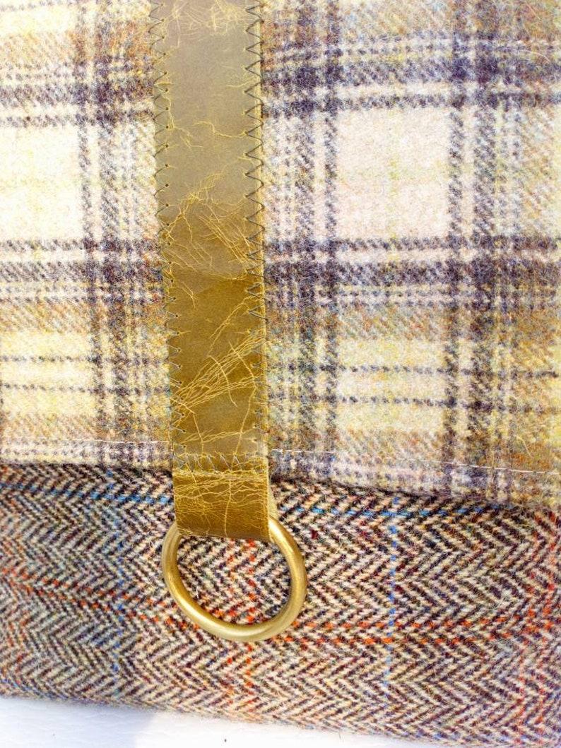 Handmade tweed cross body bag beigeolive green