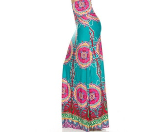 b0d5ef46847 Teal and Pink Maxi Skirt