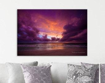 Vibrant Purple and Orange Sunset, Beach, Clouds, deep and intense colors, fine art photography print, art print, home decor, wall art