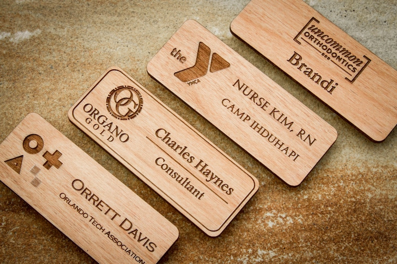 0459ab19d9 Custom Engraved Wood Name Badge Personalized Magnetic Name