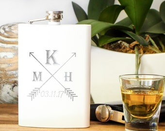 Monogrammed Flask, Personalized Hip Flask, Engraved Flask, White Flask: Groomsman Gift for Him Bridesmaid Gift, White Wedding Favor