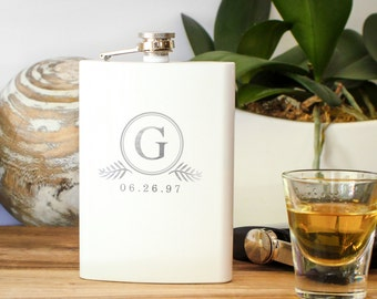 Custom Egraved White Flask, Personalized Hip Flask, Engraved Flask, Monogrammed Flask: Grooms Gift for Him, Bridesmaid Gift, Lady's Flask