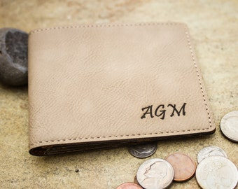 Custom Engraved Vegan Leather Wallet, Personalized Men's Wallet - Groomsman Gift, Father's Day, Stocking Stuffer, Valentine's Gift for Him