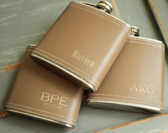 Monogrammed Flask, Vegan Leather Flask, Custom Flask, Personalized Flask, Hip Flask: Groom Gift for Him, Groomsmen, Bridesmaid, Fathers Day