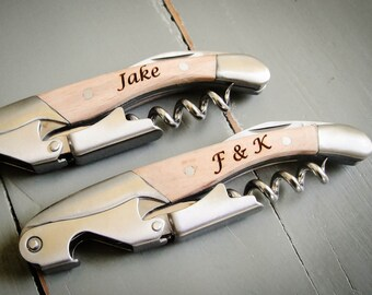 Personalized Waiter's Corkscrew, Double-Hinged Bottle Opener, Engraved Wine Opener, Engraved Corkscrew: Housewarming, Groomsmen, Bridesmaid