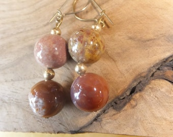 Jasper and Gold Plated Drop Earrings