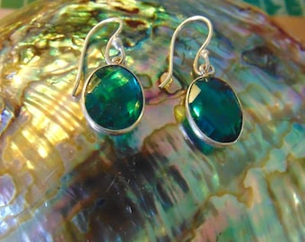 Gorgeous Green Tourmaline and Sterling Earrings