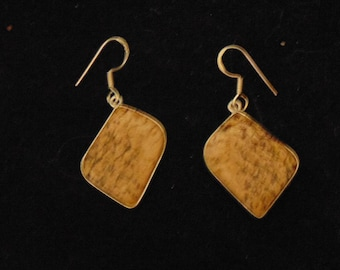 Vintage Picture Jasper Earrings set in Sterling Silver