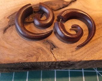Carved Wood Earrings Faux Gauge Spiral