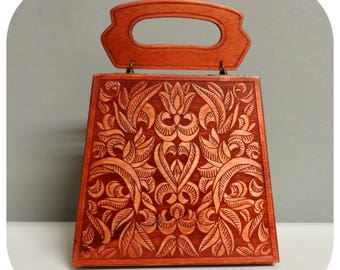 """Vintage style Wood handbag """"mexican tooled leather"""" style handmade by V.and The Wolf"""