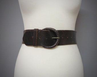Ceinture en cuir marron vintage femme, ceinture large eb4a06a5703