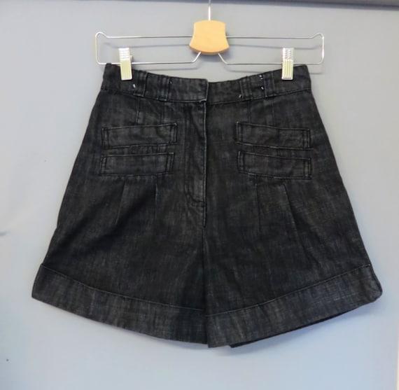 Vintage 40s /50s style Black jeans shorts S/M 26W