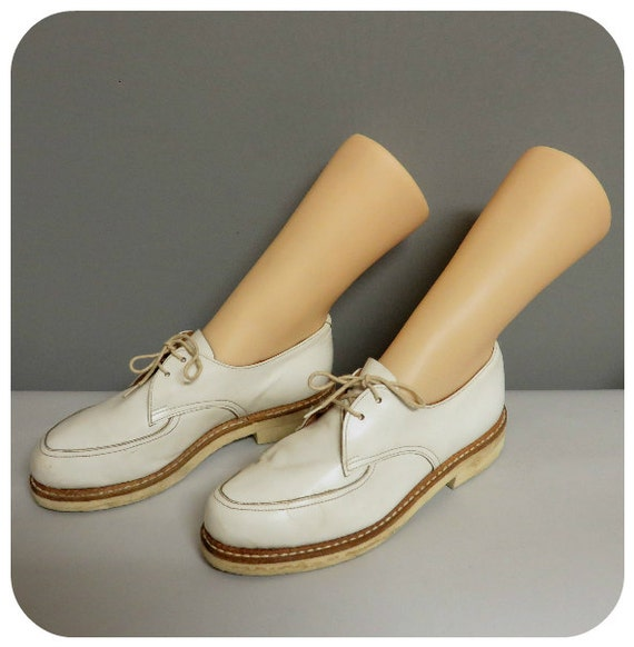 Vintage 40s/50s woman white leather shoes 36/36,5