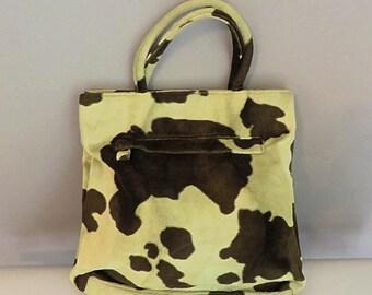 80s/90s Handbag two tonesgreen  imitation cow skin