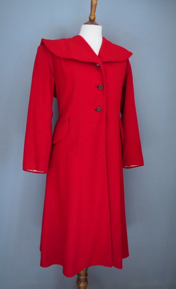 Vintage 40s Red wool coat , II war , Hollywood sty
