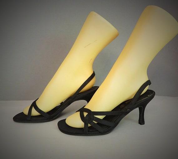 Jahre Sandalen Schuhe 37eu Frau Schwarz Vintage 50er60er Stil 4Rj5A3Lq