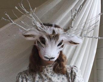 Luxury Arctic Reindeer Mask, White Deer, Woodland  Mask, Deer Headdress, Masquerade Animal Mask, Christmas Mask, Festive Mask