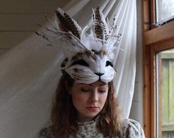Luxury Jackalope Mask, Adult Rabbit Mask, Feather Animal Mask, Woodland Headdress, Masquerade Mask, Cosplay Mask, Halloween, Fantasy Mask