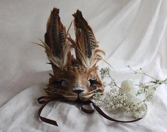Luxury Brown Rabbit Mask, Unisex Animal Mask, Woodland Mask, Zootopia, Cosplay, Alice In Wonderland, Masquerade Mask, Easter Bunny Headdress