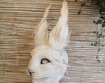 Luxury White Hare Mask, Large White Rabbit Mask, Alice In Wonderland, Christmas Fancy Dress, Festival Headdress,  Halloween Cosplay Animal