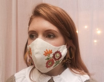 Limited Edition Zero Waste Eco Floral Hand Embroidered Face Mask Covering - includes two sets of ribbon ties in colours of your choice