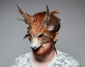 Luxury Red Fox Mask, Unisex Adult Fox Mask, Woodland Animals, Festival Headdress, Carnival Mask, Fox Masquerade Mask, Fox Mask, Animal Mask