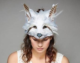 Luxury White Fox Mask, Unisex Adult Fox Mask, Woodland Animal, Festival Headdress, Carnival Mask, Arctic Fox Mask, Masquerade, Halloween