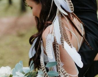Wild Feather Veil, Bridal Veil, Boho Feather Headpiece, Wedding Headpiece, Boho Wedding Accessory, Feather Headdress , Boho Wedding