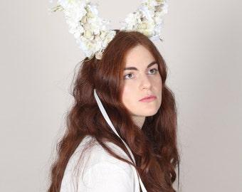 Petal Rabbit Ears, Rabbit Ears, White Flower Rabbit Ears, Animal Ears Headband, Rabbit Lover Gift