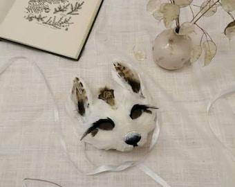 Children's Luxury White + Brown Fox Cub Mask,  Kids Woodland Animals, Party Headdress, Unisex Carnival Mask, Fox Mask, Animal Dress Up Mask