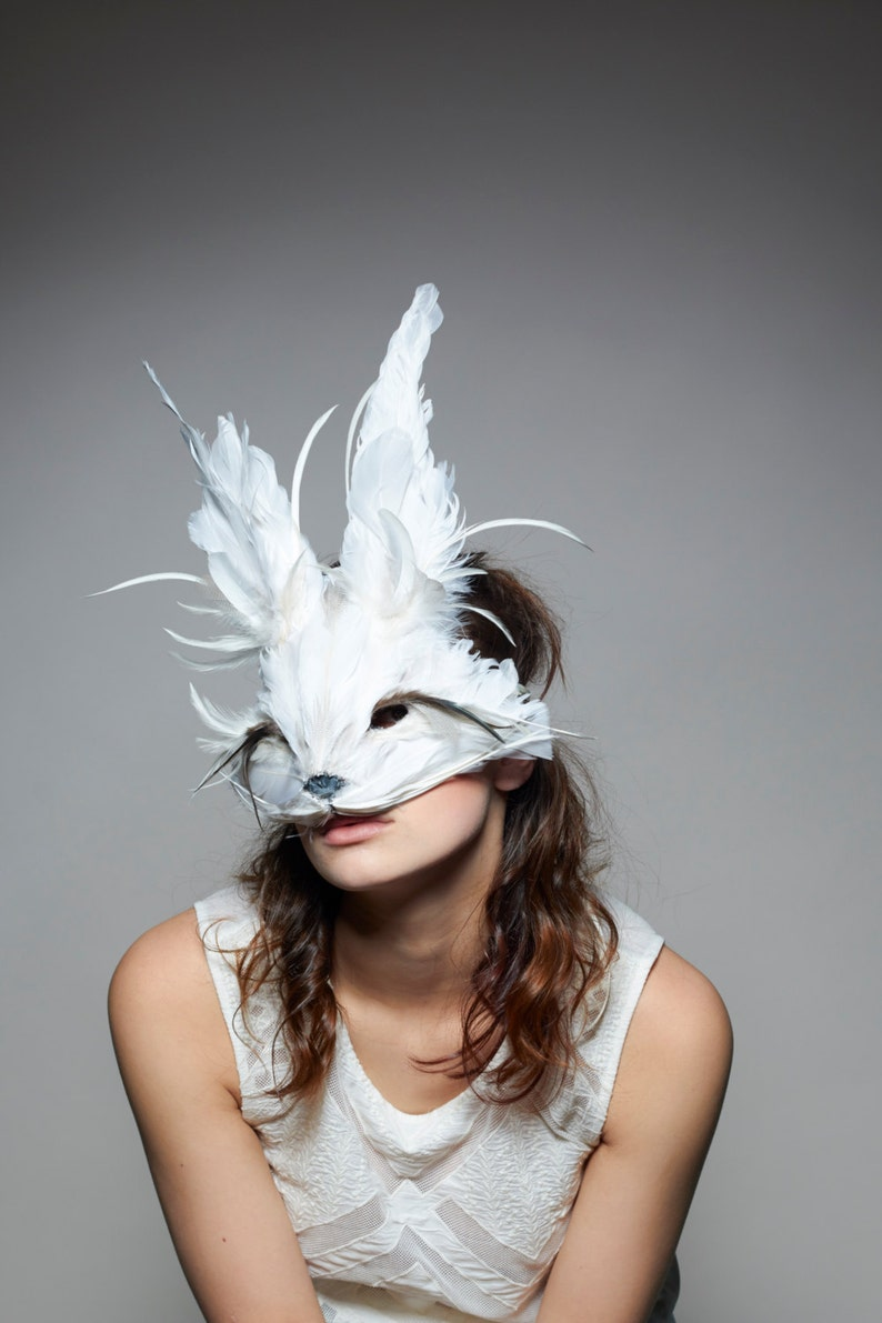 Luxury White Rabbit Mask Unisex Animal Mask Woodland Mask image 0