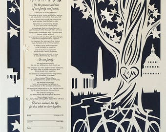 Papercut Ketubah With DC Skyline and Bicycles under a tree