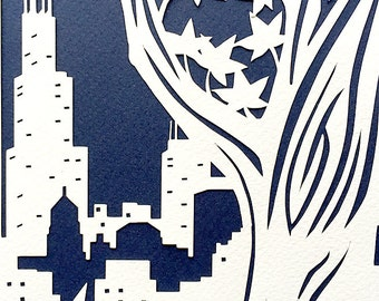 Papercut Ketubah With Chicago Skyline