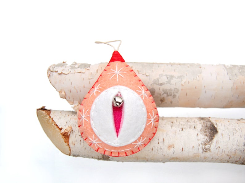 Melon or apricot or peach Christmas bauble vulva decoration image 0