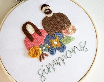 Embroidered Family Portrait with Florals, Personalized Embroidery, family portrait, portrait embroidery, embroidery decor, valentine's day