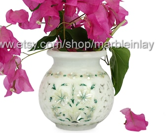 White Flower Pot Marble Inlay Orchid Pot for Office Decor