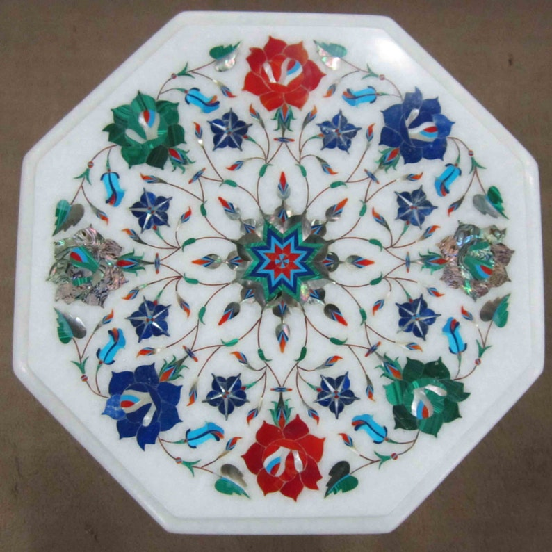White Marble inlay Coffee Dining Patio Garden Rustic Table top Antique Marquetry Rare Florentine