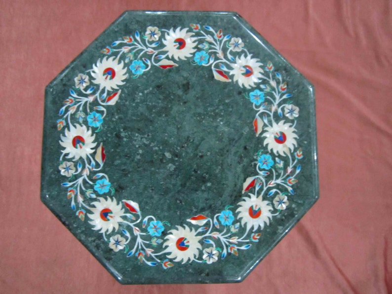 Exclusive Side Table top Green Marble Inlaid Marquetry Pietra Dura decorative