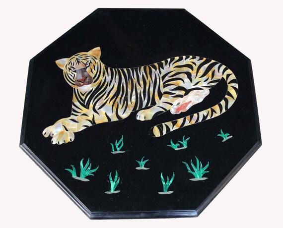 Möbel Scagliola Italienische Kunst Essen oder Kaffeetisch Top Marmor  Intarsien Edelsteine