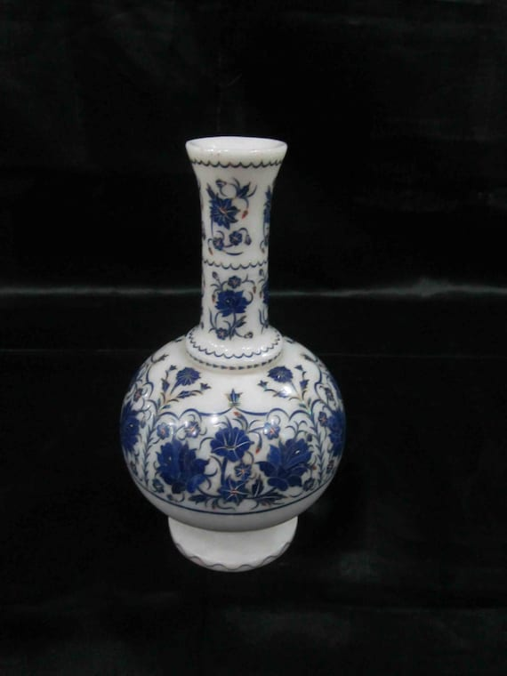 Flower Vases Marble Inlay Handicrafts Lapislazuli Stone Inlaid Etsy