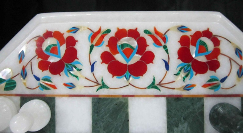 Marble inlaid Chess Board Table Vintage Rare Antique chess pieces Collectible